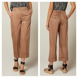 RW&CO. High Waisted Cropped Cotton Camel Pants